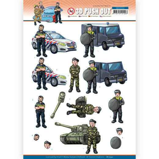 SB10552 - 3D Push Out - Yvonne Creations - Big Guys Professions - Police