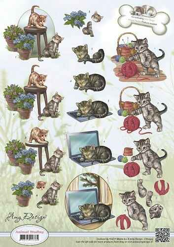 CD10453 - 3D Knipvel - Amy Design - Animal Medley - Felines