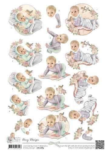 CD10684 - 3D Knipvel - Amy Design - Baby Collection - Vintage baby