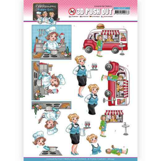 SB10547 - 3D Push Out - Yvonne Creations - Bubbly Girls Proffesions - Catering