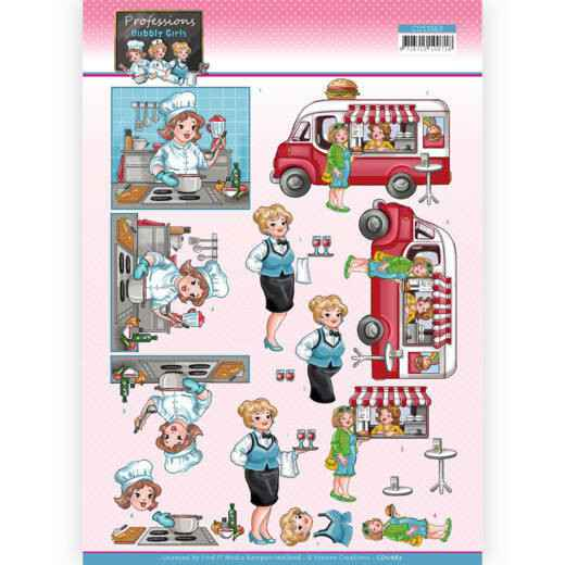 CD11663 - 3D Cutting Sheet - Yvonne Creations - Bubbly Girls Professions - Catering