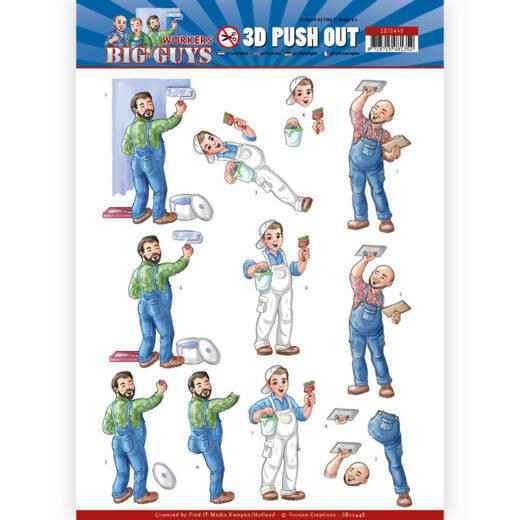 SB10448 - 3D Push Out - Yvonne Creations - Big Guys - Workers - Handyman