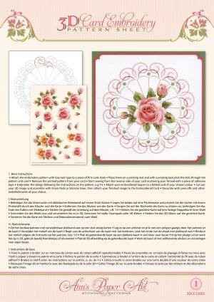 3DCE13001 - 3D Card Embroidery Pattern Sheets Rose Glow