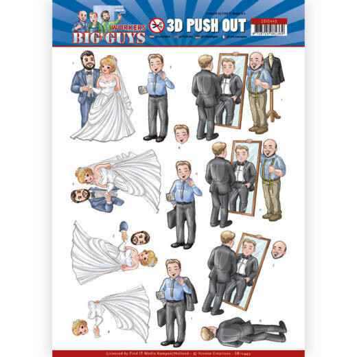 SB10449 - 3D Push Out - Yvonne Creations - Big Guys - Workers - Well Dressed
