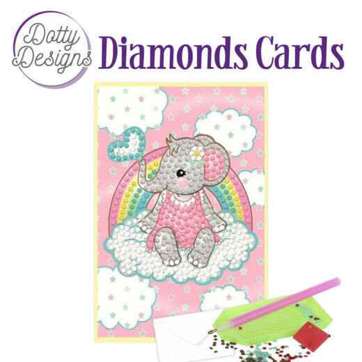DDDC1010 - Dotty Designs Diamonds Cards - Pink Baby Elephant 10x15