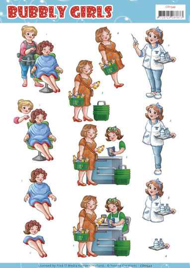 CD11544 - 3D cutting sheet - Yvonne Creations - Bubbly Girls - Professions