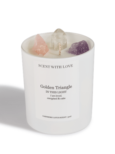 Witte kaars 300 gr.   Golden Triangle   Cashmere Lotus
