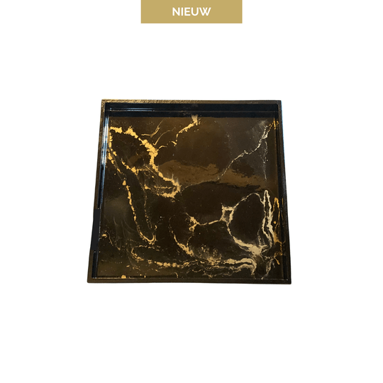 Dienblad - Marble Collection Black & Gold