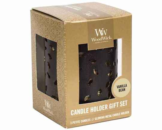 Woodwick giftset Glowing leaf + 3 petite Vanilla bean
