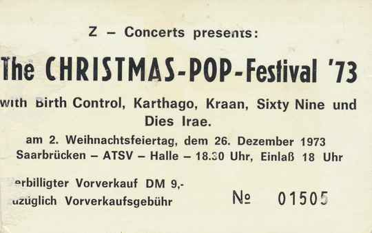 Birth Control - Karthago - Kraan - Sixty Nine - Dies Irae - The Christmas-Pop-Festival, ATSV Halle, Saarbrücken, December 26, 1973 [Germany] - Ticket Stub