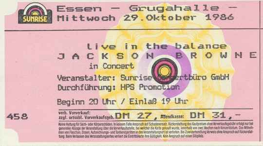 Jackson Browne - Grugahalle, Essen, October 29, 1986 [Germany] - Ticket Stub