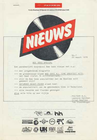 Bee Gees - Bee Gees Special - March 23, 1978 [Holland] - Press Release