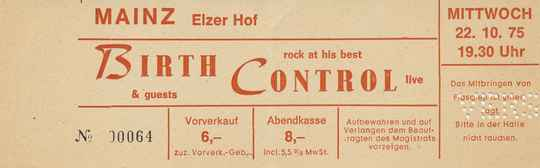 Birth Control - Elzer Hof, Mainz, October 22, 1975 [Germany] - Ticket Stub