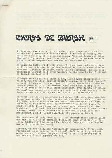 Chris de Burgh - At The End Of A Perfect Day - 1977 [Holland] - Press Release