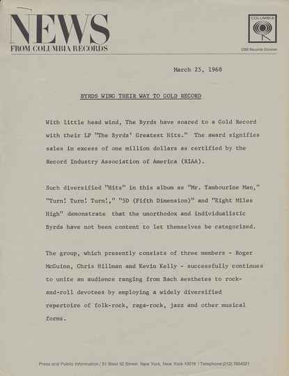 The Byrds - Byrds Wing Their Way To Gold Records - March 25, 1968 [USA] - Press Release