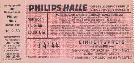 Barclay James Harvest - Philipshalle, Düsseldorf, February 13, 1980 [Germany] - Ticket Stub