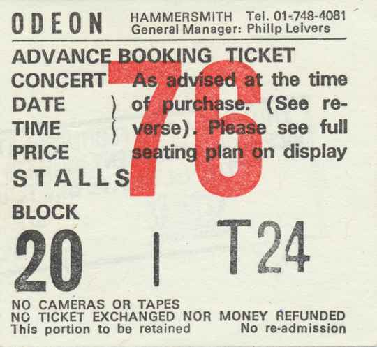 Ozzy Osbourne - Hammersmith Odeon, London, February 20, 1986 [UK] - Ticket Stub