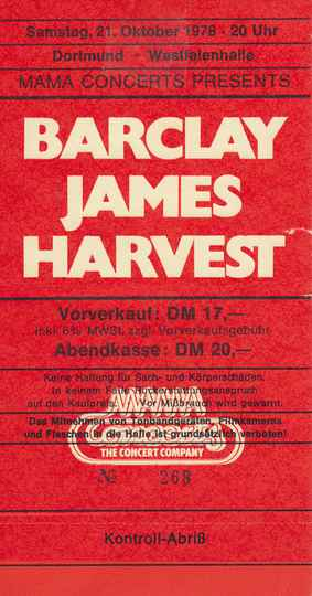 Barclay James Harvest - Westfalenhalle, Dortmund, October 21, 1978 [Germany] - Ticket Stub