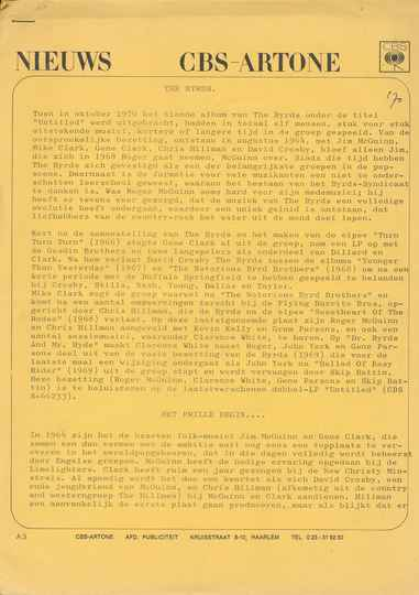 The Byrds - Nieuws - February 1971 [Holland] - Press Kit