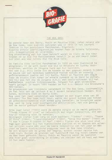 Bee Gees - Biografie - March 1978 [Holland] - Press Release