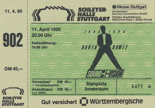 David Bowie - Schleyerhalle, Stuttgart, April 11, 1990 [Germany] - Ticket Stub