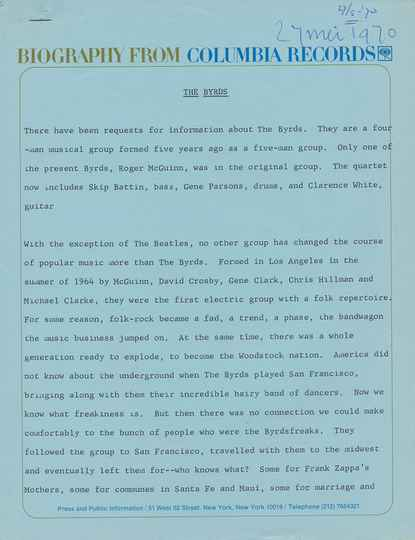 The Byrds - Biography From Columbia Records - May 27, 1970 [USA] - Press Kit
