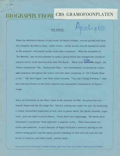 The Byrds - Biography From CBS Gramofoonplaten - April 1968 [Holland] - Press Release