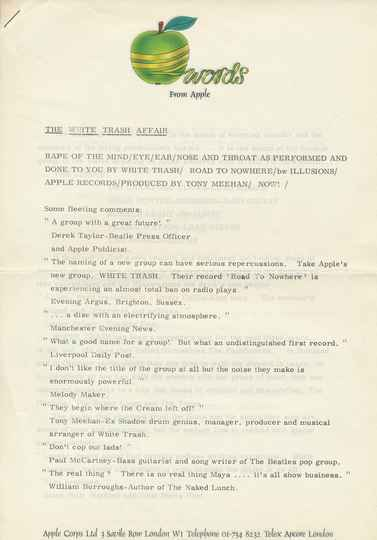 The White Trash (Apple Corps, The Beatles) - 1969 [UK] - Press Release