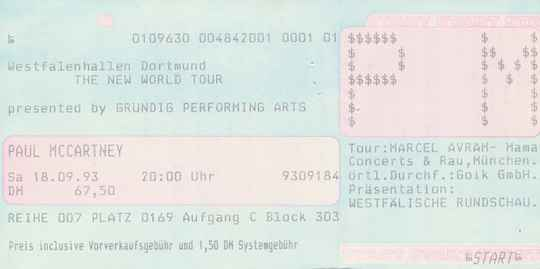 Paul McCartney - Westfalenhalle, Dortmund, September 18, 1993 [Germany] - Ticket Stub