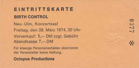 Birth Control - Konzertsaal, Neu-Ulm, March 29, 1974 [Germany] - Ticket Stub