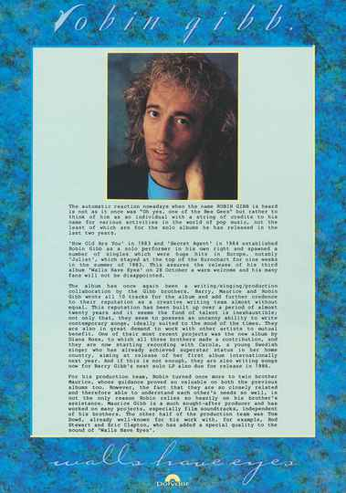 Robin Gibb (Bee Gees) - Walls Have Ears - October 1985 [Holland] - Press Kit