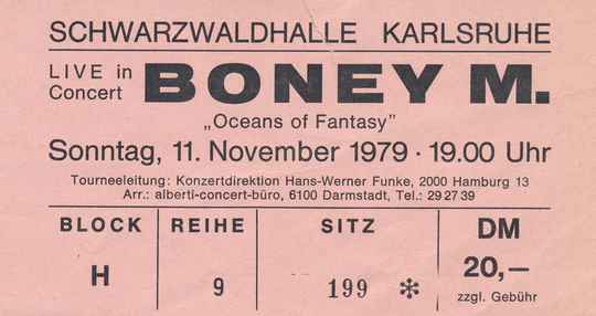 Boney M - Schwarzwaldhalle, Karlsruhe,  November 11, 1979 [Germany] - Ticket Stub