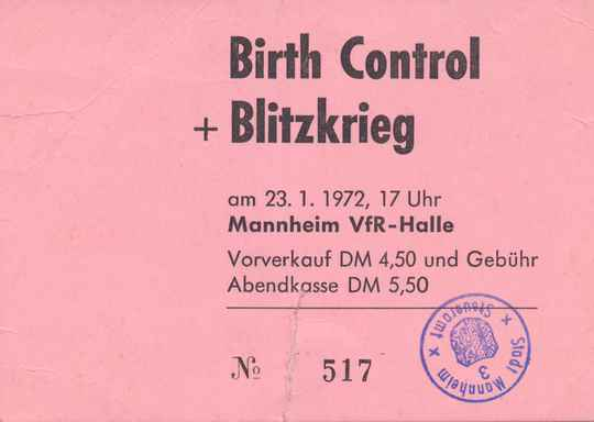 Birth Control - Blitzkrieg - VfR-Halle, Stuttgart, January 23, 1972 [Germany] - Ticket Stub