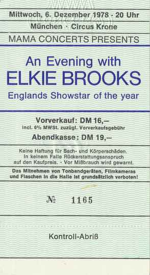 Elkie Brooks - Circus Krone, Munich, December 6, 1978 [Germany] - Ticket Stub