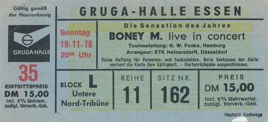 Boney M - Gruga-Halle, Essen, November 19, 1978 [Germany] - Ticket Stub