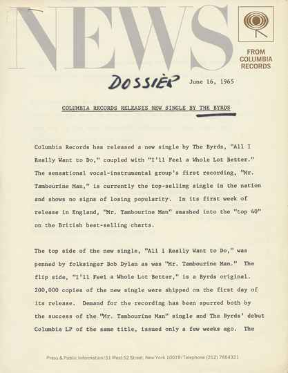 The Byrds - All I Really Want To Do - June 16, 1965 [USA] - Press Release
