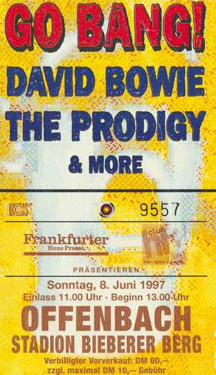 David Bowie - The Prodigy - Stadion Bieberer, Berg Offenbach, June 8, 1997 [Germany] - Ticket Stub