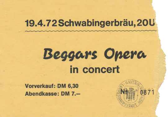 Beggars Opera - Schwabinger Bräu, Munich, April 19, 1972 [Germany] - Ticket Stub