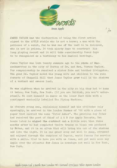 James Taylor (Apple Corps, The Beatles) - 1970 [UK] - Press Release