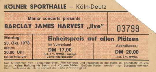 Barclay James Harvest - Kölner Sporthalle, Cologne-Deutz, October 23, 1978 [Germany] - Ticket Stub