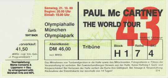Paul McCartney - Olympiahalle, Munich, October 21, 1989 [Germany] - Ticket Stub