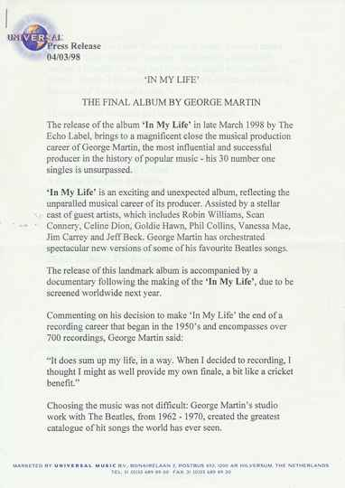 The Beatles - George Martin - In My Life - March 4, 1998 [Holland] - Press Release
