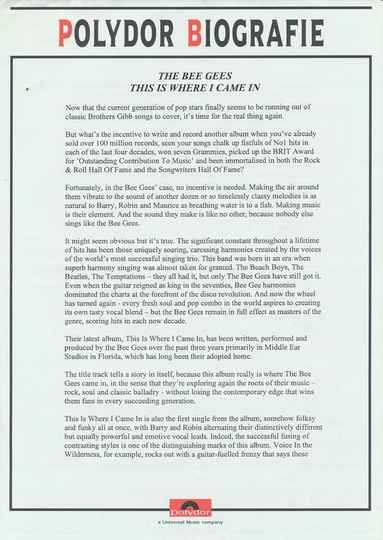 Bee Gees - This Is Where I Came In - April 2, 2001 [Holland] - Press Release