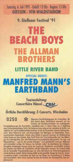The Beach Boys - The Allman Brothers - Little River Band - Manfred Mann's Earthband - VFB-Waldstadion, Giessen, July 6, 1991 [Germany] - Ticket Stub