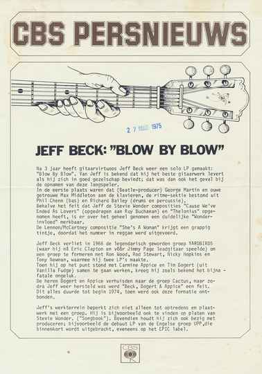 Jeff Beck - Blow By Blow - March 27, 1975 [Holland] - Press Release