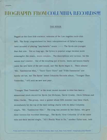 The Byrds - Biography From Columbia Records - April 1967 [USA] - Press Kit