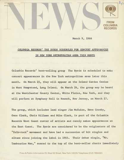 The Byrds - Columbia Records' The Byrds Scheduled For Concert Appearances In New York Metropolitan Area This Month - March 9, 1966 [USA] - Press Release