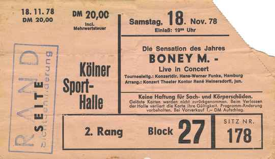 Boney M - Kölner Sporthalle, Cologne-Deutz, November 18, 1978 [Germany] - Ticket Stub