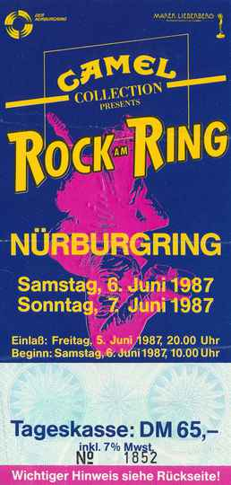 David Bowie - Echo & The Bunnymen - UB40 - Thompson Twins - Chris Isaak - Bob Geldof - Eurythmics - Bruce Hornsby - Rock Am Ring, Nürburgring, June 6-7, 1987 [Germany] - Ticket Stub