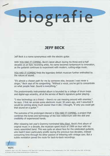 Jeff Beck - You Had It Coming - 2000 [Holland] - Press Release